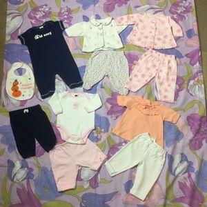 EUC bundle 11 pieces Baby girl clothes 0/3M